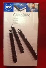 "NEW LOT OF 100 GBC COMB BIND WHITE 1/2""/12mm 85 SHEET CAPACITY 19 RINGS"