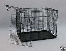 36 Black3 Door Folding Suitcase Dog Crate Pet Cage Cat Kennel wDIVIDER Metal Pan