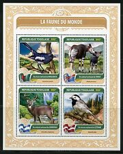 TOGO 2016  FAUNA OF THE WORLD OFFICIAL  BIRD OR ANIMAL  CONGO, HONDURAS ETC SHT