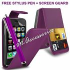 PURPLE FLIP CASE POUCH PU LEATHER COVER WALLET FOR IPHONE 3 3G 3GS 16GB 32GB