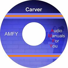 Carver service manuals, owners manuals and schematics on 1 DVD, all in pdf