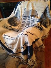 Saltbox House Primitive Home Made of Love Fr BLUE Cotton Woven Throw Blanket NEW