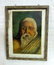 Antique Old Artist Hand Fine Portraits Indian Old Man Oil Painting Tin Board
