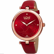 New w Tag Box Burgi Women's Red Floral Rose Woman's Leather Strap Quartz Watch