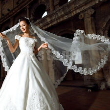 New White Cathedral Length Lace Edge Bride Wedding Bridal Long Veil Lace Appliqu