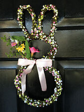 "Natural Grapevine Silk Flowers Easter Bunny 16"" Wreath Wall Decoration NEW"