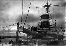 ANTIQUE NEGATIVE GLASS Film 1900 bow warship with large guns in port Australia