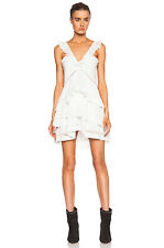 NWT $605 ISABEL MARANT SZ 44/12  CASEY White Cotton Silk Ruffle Tier Mini Dress