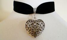 Black Velvet Love Heart Choker Medieval Wicca Pagan Gothic Necklace Pendant