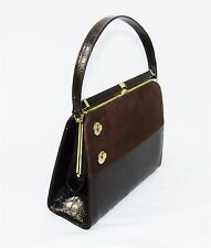 Vintage 50's 60's RISQUE HANDBAG Brown Faux Leather Suede Hand Bag Box Purse