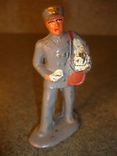Old Vtg Antique Collectible Lead Toy Postman Carrying And Delivering Mail