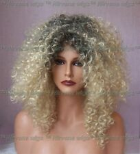 Dark Root with Golden Blonde Afro Spiral Curls Fizz Wig/wigs