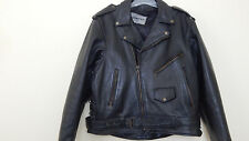 Vintage mens XL black Heavy leather motorcycle jacket excellent condition