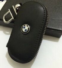 Bmw leather key cover case holder ring chain fob!