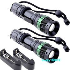 2x 2000Lumen Rechargeable Tactical T6 LED Flashlight Torch+18650 Battery Charger