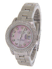 Rolex Lady's Datejust Pink Mother of Pearl Face and Diamonds 26mm