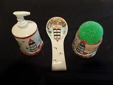 Light House 4 pc Kitchen Counter Top Set Ceramic Spoonrest Soap Dispenser