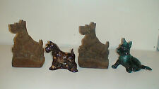 1 OF 3]  RARE  ANTIQUE HUBLEY CAST IRON SEALYHAM  SCOTTIE  DOG PUP BOOKENDS
