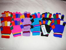 WHOLESALE JOBLOT 12 CHILDRENS MAGIC MULTI COLOURED FASHION GLOVES BOY GIRL KIDS