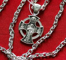 Mens Necklace Russian Orthodox Crucifix+Rope Chain. Silver 925 Guardian Angel