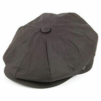 Jaxon Brown Oilcloth Cotton 8 Panel Newsboy 1920s Peaky Blinders Style Flat Cap