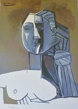 "PABLO PICASSO ""Bust of a Woman"" plate signed HAND NUMBERED LITHOGRAPH gouache"