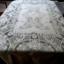Vintage Quaker lace Tablecloth 61x78 Oblong Beige Cotton Repair