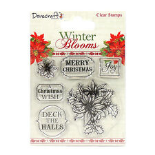 DOVECRAFT WINTER BLOOMS POINSETTIAS CLEAR STAMPS FOR CARDS & CRAFTS