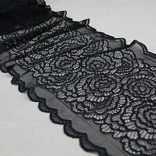 1 Yard Black Bilateral Rose Stretch Lace Trim Tulle For Craft Lingerie Wide 9""