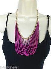 Sexy Black Gold Neon Pink Layered Curb Chain Loop Statement Necklace