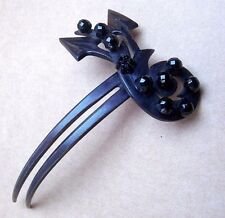 Victorian Mourning French Jet Hair Ornament Hair Stick Fork Antique