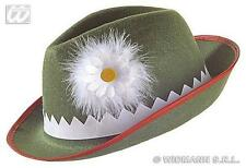 Green Felt Tyrolean Hat With Daisy Bavarian Alpine Cap German Fancy Dress