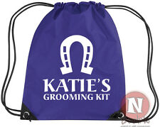 Personalised horse grooming riding kit bag. Drawstring - add child/horse name
