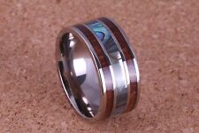 10mm Titanium Ring with Koa wood and Abalone Shell inlaid