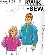 """1991 Kwik*Sew Kerstin Martensson Master Pattern # 2107 """"Boys' & Girls' Jackets"""""""