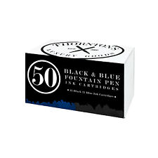 Thornton's Standard Fountain Pen Ink Cartridges, Black & Blue Ink, Pack of 50