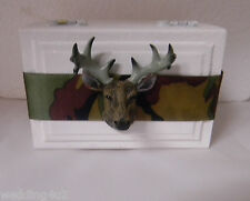 CAMOUFLAGE Wedding Party Camo Ring Bearer Pillow Box Wood Deer Hunting White