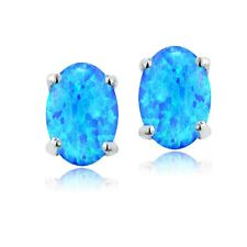 925 Silver 6x4 Oval Lab Created Blue Opal Stud Earrings