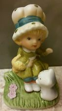 Porcelain Girl with Kitten Cat and basket of flowers HOMCO #1430 Fairy Garden