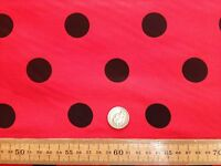 PolyCotton fabric * SPOTTED POLKA DOT * RED with BLACK SPOTS * 25 MM SPOTS