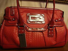 NWT GUESS MADY RAY RED FRAME SATCHEL HANDBAG 100% AUTHENTIC
