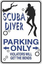 "Metal Sign Scuba Diver Parking Only 8"" x 12"" Aluminum S402"