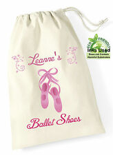 Ballet Dance Shoe Bag Cotton Draw String Personalised Pink Print Girly Show Bc