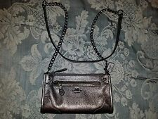 Coach Mickie Grain Leather Metallic Silver Gunmetal Crossbody Bag $225 NWOT