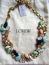 J Crew Mixed Stones Party Necklace Mint Pink Blue Rainbow Crystal Cluster NWT