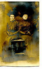 Women Mother-Daughter ? Hold Book-Studio Table RPPC-Vintage Real Photo Postcard