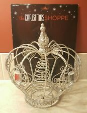 Silver Glittered Crown Tree Topper Decoration Christmas Home Accent Decor NEW
