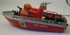 """Vintage Battery Operated - 10"""" Red Plastic Fire Department Boat #1081 WORKS!!"""