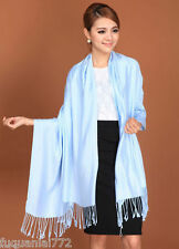 New Women's Warm Baby Blue 100% Cashmere Pashmina Solid Tassel Shawl Wrap Scarf