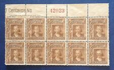 CHILE 1918 CHRISTOFER COLUMBUS BLOCK OF 10 3c. NUMBER UNUSED  NO GUM CENTRING